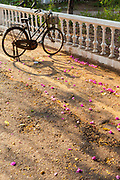 A bicycle parked on a street surrounded by fallen blossom. Pondicherry, India. Pondicherry now Puducherry is a Union Territory of India and was a French territory until 1954 legally on 16 August 1962. The French Quarter of the town retains a strong French influence in terms of architecture and culture.