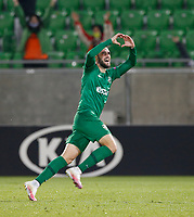 RAZGRAD, BULGARIA - OCTOBER 22: Higinio Marin of Ludogorets celebrates after scoring his goal for 1-0 in 46th minute during the UEFA Europa League Group J stage match between PFC Ludogorets Razgrad and Royal Antwerp at Ludogorets Arena on October 22, 2020 in Razgrad, Bulgaria. (Photo by Nikola Krstic/MB Media)