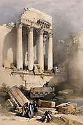 Remains of the western portico at Baalbec (Baalbek). Coloured lithograph by Louis Haghe after David Roberts, 1843.