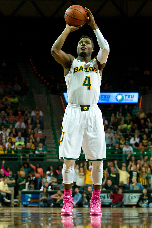 WACO, TX - JANUARY 25: Gary Franklin #4 of the Baylor Bears shoots a free-throw against the Texas Longhorns on January 25, 2014 at the Ferrell Center in Waco, Texas.  (Photo by Cooper Neill/Getty Images) *** Local Caption *** Gary Franklin