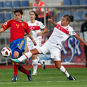 Turkey's Cansu YAG (R) and Spain's Miriam DIEGUEZ (L) during their UEFA 2013 Woman's Euro Qualifying Group Stage Group 2 soccer match Turkey betwen Spain at Kasimpasa Recep Tayyip Erdogan stadium in Istanbul September 17, 2011. Photo by TURKPIX