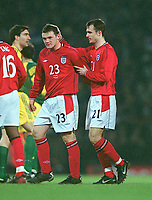 Fotball<br /> England<br /> Wayne Rooney<br /> Foto: Colorsport/Digitalsport<br /> NORWAY ONLY<br /> <br /> Francis Jeffers and Wayne Rooney (England) leave the field together at the end of the match. England v Australia. Friendly International @ Upton Park. 12/2/2003