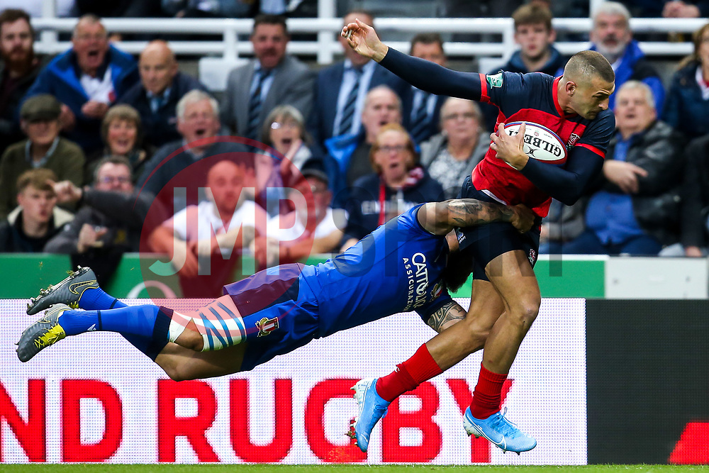 Jonny May of England is tackled by Jayden Hayward of Italy - Mandatory by-line: Robbie Stephenson/JMP - 06/09/2019 - RUGBY - St James's Park - Newcastle, England - England v Italy - Quilter Internationals