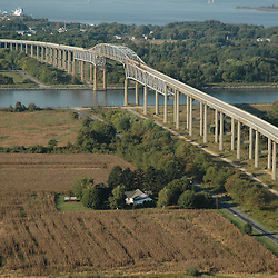 Aerial view of original St. Georges Bridges over C& D Canal