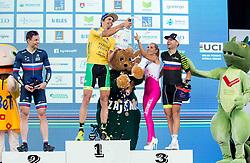 Second placed Petr Ukhov (Rus), Winner Igor Kopse (SLO) and third placed Gregor Sikosek (Slo) celebrate at 35th Marathon Franja BTC City 2016, on June 11, 2016 in BTC, Ljubljana, Slovenia. Photo by Vid Ponikvar / Sportida