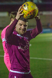 Arbroath's Bobby Linn at the end with the match ball after scoring his hatrick. Forfar Athletic 2 v 3 Arbroath, Scottish Football League Division One played 8/12/2018 at Forfar Athletic's home ground, Station Park, Forfar.