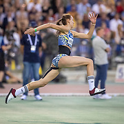 BRUSSELS, BELGIUM:  September 3:   Karyna Demidik of Belarus during the high jump for women competition at the Wanda Diamond League 2021 Memorial Van Damme Athletics competition at King Baudouin Stadium on September 3, 2021 in  Brussels, Belgium. (Photo by Tim Clayton/Corbis via Getty Images)