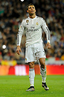 Real Madrid´s Cristiano Ronaldo regrets his performance after a penalty failure during 2014-15 La Liga match between Real Madrid and Malaga at Santiago Bernabeu stadium in Madrid, Spain. April 18, 2015. (ALTERPHOTOS/Luis Fernandez)