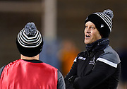 Newcastle Falcons Head Coach Dave Walder talks with Micky Young before a Gallagher Premiership Round 12 Rugby Union match, Friday, Mar 05, 2021, in Eccles, United Kingdom. (Steve Flynn/Image of Sport)