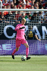 July 28, 2018 - Ann Arbor, Michigan, United States - Goalkeeper Kamil Grabara of Liverpool kicks the ball from the net during an International Champions Cup match between Manchester United and Liverpool at Michigan Stadium in Ann Arbor, Michigan USA, on Wednesday, July 28,  2018. (Credit Image: © Amy Lemus/NurPhoto via ZUMA Press)