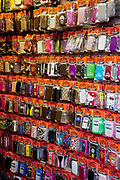 Colourful mobile phone covers for sale at a cheap store in London. Coming in all shapes and sizes to fit any brand of phone.