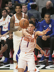 October 21, 2017 - Los Angeles, California, U.S - Devin Booker #1 of the Phoenix Suns passes the ball during their regular season game against the Los Angeles Clippers on Saturday October 21, 2017 at the Staples Center in Los Angeles, California. Clippers defeat Suns, 130-88. (Credit Image: © Prensa Internacional via ZUMA Wire)