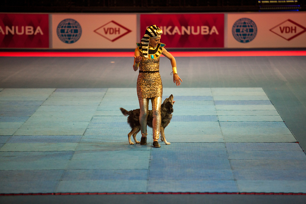 Dog Dance presentation with Silvia Habersaat at the Leipzig Trade Fair. Over 31,000 dogs from 73 nations will come together from 8-12 November 2017 in Leipzig for the biggest dog show in the world.