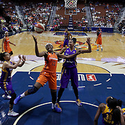 UNCASVILLE, CONNECTICUT- MAY 26:  Chiney Ogwumike #13 of the Connecticut Sun rebounds during the Los Angeles Sparks Vs Connecticut Sun, WNBA regular season game at Mohegan Sun Arena on May 26, 2016 in Uncasville, Connecticut. (Photo by Tim Clayton/Corbis via Getty Images)