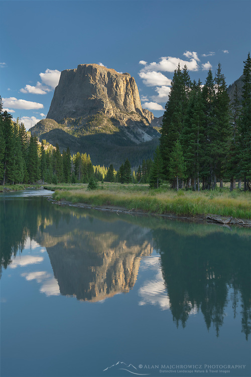 Squaretop Mountain reflected in Green River Bridger Wilderness, Wind River Range Wyoming