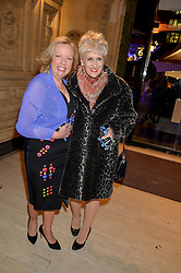 Left to right, DEBORAH MEADEN and ANITA DOBSON at the opening night of Amaluna by Cirque Du Soleil at The Royal Albert Hall, London on 19th January 2016.