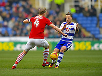 Reading's Roy Beerens (R) battles with Barnsley's Marc Roberts (L)<br /> <br /> Reading 0 - 0 Barnsley<br /> <br /> Photographer David Horton/CameraSport<br /> <br /> The EFL Sky Bet Championship - Reading v Barnsley - Saturday 11th February 2017 - Madejski Stadium - Reading<br /> <br /> World Copyright © 2017 CameraSport. All rights reserved. 43 Linden Ave. Countesthorpe. Leicester. England. LE8 5PG - Tel: +44 (0) 116 277 4147 - admin@camerasport.com - www.camerasport.com