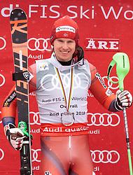 18.03.2018, Aare, SWE, FIS Weltcup Ski Alpin, Finale, Aare, Gesamt Weltcup, Herren, Siegerehrung, im Bild Henrik Kristoffersen (NOR, Gesamt Weltcup 2. Platz, Slalom Weltcup 2. Platz, Rieseslalom Weltcup 2. Platz) // Overall World Cup second placed Giant Slalom World Cup second placed and Slalom World Cup second placed Henrik Kristoffersen of Norway during the allover winner Ceremony for the men's Worlcup of FIS Ski Alpine World Cup finals in Aare, Sweden on 2018/03/18. EXPA Pictures © 2018, PhotoCredit: EXPA/ Johann Groder