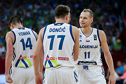 Luka Doncic of Slovenia and Jaka Blazic of Slovenia during the Final basketball match between National Teams  Slovenia and Serbia at Day 18 of the FIBA EuroBasket 2017 at Sinan Erdem Dome in Istanbul, Turkey on September 17, 2017. Photo by Vid Ponikvar / Sportida