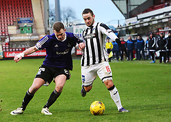 Ayr United's Nicky Devlin and Dunfermline's Ryan Wallace. <br /> Dunfermline 3 v 2 Ayr United, Scottish League One played at East End Park, 13/2/2016.