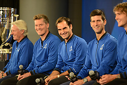 September 20, 2018 - Chicago, Illinois, United States - ROGER FEDERER , NOVAK DJOKOVIC , ALEXANDER ZVEREV and other members of the Europe Team speak with the media prior to the start of the 2018 Laver Cup tennis event in Chicago. (Credit Image: © Christopher Levy/ZUMA Wire)