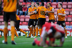 Wolves players celebrate a goal during the first half of the match - Photo mandatory by-line: Rogan Thomson/JMP - Tel: Mobile: 07966 386802 01/12/2012 - SPORT - FOOTBALL - Ashton Gate - Bristol. Bristol City v Wolverhampton Wanderers - npower Championship.