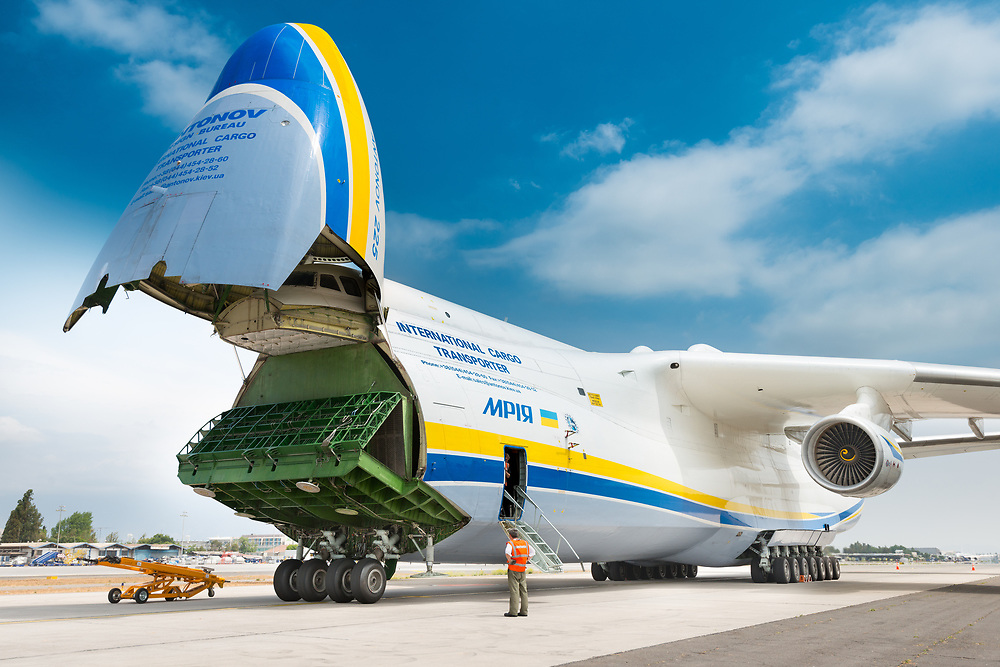 Santiago de Chile, Metropolitan Region, Chile, South America - The Antonov 225 also know as AN-225 and the biggest airplane in the world, with nose up and deploying the ramp for cargo to go inside.