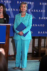 US Senator and former Democratic presidential contender Hillary Clinton (D-NY) holds a press conference about pay equity at Barnard College in New York City, NY, USA on September 15, 2008. Photo by Dennis Van Tine/ABACAPRESS.COM