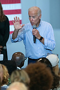Former Vice President Joe Biden speaks directly with the audience during a town hall meeting at the International Longshoreman's Association Hall July 7, 2019 in Charleston, South Carolina.