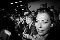 BELPASSO, ITALY - 28 OCTOBER 2017: Supporters of center-right candidate Nello Musumeci, running for governor of Sicily in the upcoming Sicilan regional election, listen to his speech during a rally in Belpasso, Italy, on October 28th 2017.<br /> <br /> The Sicilian regional election for the renewal of the Sicilian Regional Assembly and the election of the President of Sicily will be held on 5th November 2017.