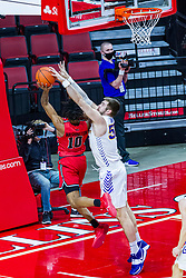 NORMAL, IL - February 27: Emon Washington tries to get a shot past Austin Phyfe during a college basketball game between the ISU Redbirds and the Northern Iowa Panthers on February 27 2021 at Redbird Arena in Normal, IL. (Photo by Alan Look)