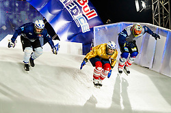 04-02-2012 SKATING: RED BULL CRASHED ICE WORLD CHAMPIONSHIP: VALKENBURG<br /> (L-R) Lari Joutsenlahti FIN, Arttu Pihlainen FIN, Philipp Auerswald GER<br /> ©2012-FotoHoogendoorn.nl / Peter Schalk