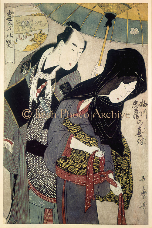 The Lovers Chubei and the Courtesan Umegawa' Illustration for 'The Pillow Book' ,1788. Coloured woodblock print (ukiyo-e). Kitanga Utamaro (1754-1806) Japanese painter and printmaker: