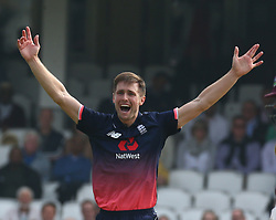 September 27, 2017 - London, England, United Kingdom - England's Chris Woakes  celebrates lbw on Marlon Samuels of West Indies .during One Day International Series match between England and West Indies at The Kia Oval, London  on 27 Sept , 2017  (Credit Image: © Kieran Galvin/NurPhoto via ZUMA Press)