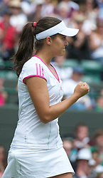 24.06.2011, Wimbledon, London, GBR, Wimbledon Tennis Championships, im Bild Laura Robson (GBR) celebrates winning a game during the Ladies' Singles 2nd Round match on day five of the Wimbledon Lawn Tennis Championships at the All England Lawn Tennis and Croquet Club, EXPA Pictures © 2011, PhotoCredit: EXPA/ Propaganda/ *** ATTENTION *** UK OUT!