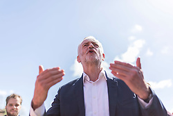 © Licensed to London News Pictures. 22/04/2017. WARRINGTON , UK.  <br /> <br /> Labour Party leader JEREMY CORBYN visiting Warrington today (SATURDAY 22/4/17) as part of the Labour Party's general election campaign. He spent time on Hood Lane North talking to Labour activists and members of the public along the street.<br />   <br /> Photo credit: CHRIS BULL/LNP