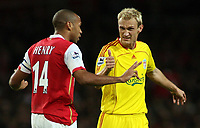 Photo: Paul Thomas.<br /> Arsenal v Liverpool. The Barclays Premiership. 12/11/2006.<br /> <br /> Thierry Henry (L) of Arsenal is asked if he is ok by Sami Hyypia after a tackle.