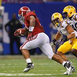 Jan 9, 2012; New Orleans, LA, USA; LSU Tigers defensive end Barkevious Mingo (49) pursues Alabama Crimson Tide running back Trent Richardson (3) during the first half of the 2012 BCS National Championship game at the Mercedes-Benz Superdome.  Mandatory Credit: Derick E. Hingle-US PRESSWIRE