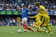 Portsmouth Forward, Oliver Hawkins (9) runs at goal during the EFL Sky Bet League 1 match between Portsmouth and Oxford United at Fratton Park, Portsmouth, England on 18 August 2018.
