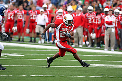 13 October 2007: Geno Blow strides up the field unassisted and encumbered.  The Indiana State Sycamores were jacked 69-17 by the Illinois State Redbirds at Hancock Stadium on the campus of Illinois State University in Normal Illinois.