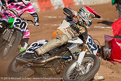 Flat Track Racing on an impromptu parking lot track at the Handbuilt Motorcycle Show. Austin, TX, USA. April 8, 2016.  Photography ©2016 Michael Lichter.
