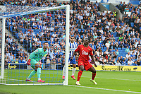 Football - 2021 / 2022 Premier League - Brighton & Hove Albion vs Watford - Amex Stadium - Saturday 21th August 2021<br /> <br /> Daniel Bachmann of Watford looks on as Shane Duffy of Brighton header bounces down on the line off the crossbar and into the roof of the net at The Amex Stadium Brighton <br /> <br /> COLORSPORT/Shaun Boggust
