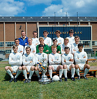 Football - 1969 - 1970 Leeds United Team group Photocall. <br /> Football League Champions 1968 - 1969 with the trophy. 01/08/1969<br /> Back, l-r: Don Revie, Paul Reaney, Norman Hunter, Rod Belfit, Eddie Gray. <br /> Middle: Mike O'Grady, Jack ( Jackie ) Charlton, Gary Sprake, David Harvey, Mick Jones, Paul Madeley. <br /> Front: Allan Clarke, Terry Cooper, Terry Hibbitt, Billy Bremner, Johnny Giles, Mick Bates. <br /> <br /> Credit: Colorsport.