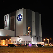 The Vehicle Assembly Building prior to the Space shuttle Discovery  making it's way to Launch Pad 39a at the Kennedy Space Center in Cape Canaveral, Fla., Monday, Jan. 31, 2011. (AP Photo/Alex Menendez)