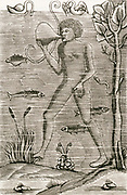 'Man walking under water using an inflated bladder as a source of air. From an edition of Vegetius ''Epitome Institutionum re militaris'', Paris, 1532.'
