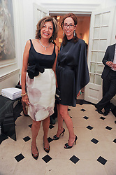 Left to right, VIMLA LALVANI and VANESSA ARELLE at a party to celebrate the launch of Page One an online guide to London's 100 most rewarding restaurants held at the Halcyon Gallery, Bruton Street, London on 7th July 2010.