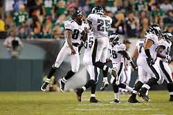 Philadelphia Eagles wide receiver Jason Avant  #81 reacts with Philadelphia Eagles safety Jarrad Page  #25 after Page caught an interception during the preseason game between the Baltimore Ravens and the Philadelphia Eagles. The Eagles won 13-6 at Lincoln Financial Field in Philadelphia, Pennsylvania on Thursday August 11th 2011. (Photo By Brian Garfinkel)