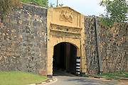 Main gate entrance in walls of historic Fort Frederick, Trincomalee, Sri Lanka, Asia dated 1675 'Dieu et mon Droit' coat of arms