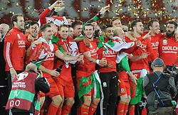 The Wales squad celebrate qualifying for Euro 2016 - Mandatory byline: Dougie Allward/JMP - 07966 386802 - 13/10/2015 - FOOTBALL - Cardiff City Stadium - Cardiff, Wales - Wales v Andorra - European Qualifier 2016 - Group B