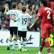 Germany's Mario GOMEZ (B) celebrate his goal with team mate during their UEFA EURO 2012 Qualifying round Group A matchday 19 soccer match Turkey betwen Germany at TT Arena in Istanbul October 7, 2011. Photo by TURKPIX